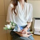 襯衫雪紡上衣S-2XL韓版百搭一粒扣V領短袖襯衫女上衣夏T558依佳衣