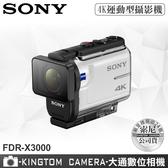 SONY FDR-X3000 4K 運動型攝影機 附防水殼 公司貨 再送32G卡+專用電池+專用座充+4好禮超值組