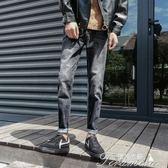 休閒長褲-褲子男士牛仔褲修身直筒春季寬鬆正韓潮流黑色學生九分褲百搭 提拉米蘇