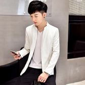 秋冬新款潮流修身純白立領皮衣夾克男士韓版青年學生外套潮男上衣