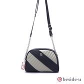 beside u BTTB 撞色不規則線條造型鍊條包側背包 – 黑色 原廠公司貨
