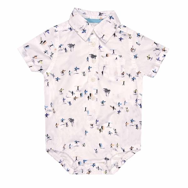男寶寶短袖包屁衣 紳士西裝連身衣 白沖浪   Oshkosh童裝 (嬰幼兒/baby/新生兒)