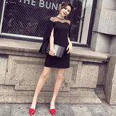 小禮服裙性感露肩斗篷黑色連身裙聚會