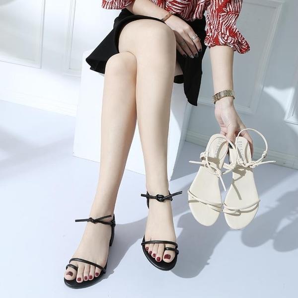 夾腳涼鞋 韓國綁帶粗跟中跟羅馬低跟夾趾百搭涼鞋露趾簡約交叉綁帶高跟鞋女