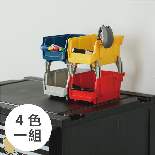收納箱 收納【R0202】HB-1014X4摩艾四層疊疊盒/混色-1灰1黃1藍1紅+灰白腳柱 MIT台灣製 樹德 完美主義