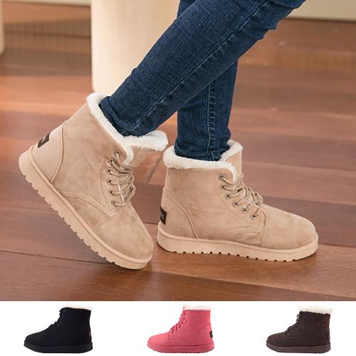 女款 韓流休閒保暖百搭繫帶 短靴 雪靴 59鞋廊