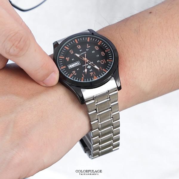 搭載SEIKO機芯銀帶黑框手錶NE2039