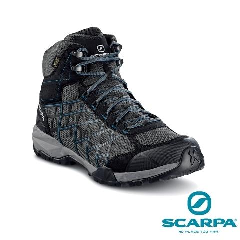 義大利【SCARPA】HYDROGEN HIKE 男款中筒 GTX 健行鞋、登山鞋(深灰-湖水藍)