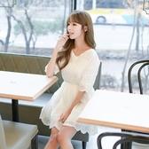 洋裝-短袖鏤空繡花V領收腰女連身裙73nj20【巴黎精品】