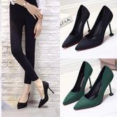 10cm黑色白搭 絨面高跟鞋 貓跟磨砂細跟職業鞋女單鞋綠色 萬聖節禮物