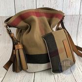 BRAND楓月 BURBERRY 經典 焦糖色 格紋帆布 流蘇 子母 小水桶包 斜背包 側背包