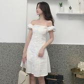 洋裝連身裙-夏秋季新款韓版復古一字領修身氣質吊帶裙泡泡袖一字肩禮服連身裙女Y25783