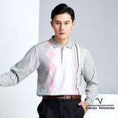 【Emilio Valentino】品味時尚休閒保暖厚織POLO衫 - 灰/粉