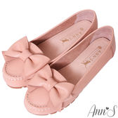 Ann'S甜美造型-可愛大蝴蝶結牛皮平底娃娃鞋-粉
