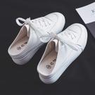 新品內增高帆布鞋女無后跟半拖布鞋厚底百搭小白鞋女 - 歐美韓熱銷