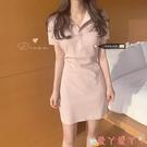短袖洋裝 韓國夏季鬼馬少女復古蜜桃元氣polo領收腰短袖小個子連身裙 愛丫 免運