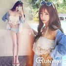 韓國 蕾絲抹胸 白色泳衣 女 比基尼 荷葉邊 裙式 二件式 性感泳裝 水藍色泳褲