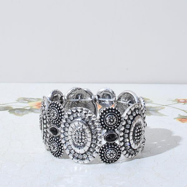 韓版復古風彈性造型手環  二色白  銀/古銅 J1087   現貨  T-FEN
