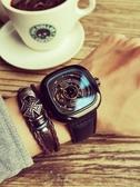 新款男士手錶男錶學生全自動鏤空機械錶潮流特種兵方形大錶盤