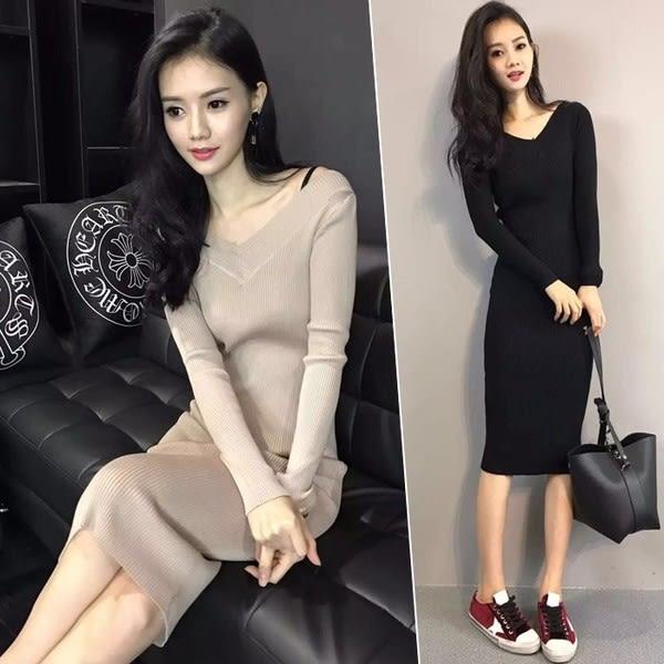【GZ75】打底連身裙 2018秋冬新款韓版長袖包臀緊修身過膝中長衫打底連身裙女