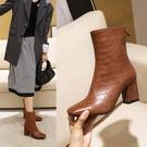 大尺碼女鞋34~47 2020百搭顯瘦方頭高跟時裝靴 短靴~5色