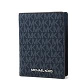 美國正品 MICHAEL KORS 銀字緹花LOGO對開中夾/護照夾-藍色【現貨】
