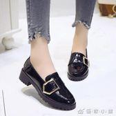 英倫風時尚小單鞋皮鞋女漆皮粗跟春秋百搭懶人鞋新款豆豆鞋子 優家小鋪