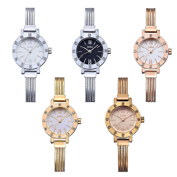 JULIUS 聚利時 浪漫星願閃耀水鑽鍊飾腕錶-金色/24mm 【JA-715D】