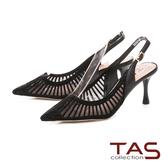 TAS 質感水鑽透膚尖頭高跟涼鞋-質感黑