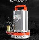直流潛水泵12V24V電動抽水機家農用抽水電瓶車不銹鋼洗車泵高揚程QM 向日葵