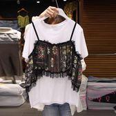 春夏裝新款民族風小吊帶拼接短袖T恤假兩件套女正韓半袖上衣 免運 可分期