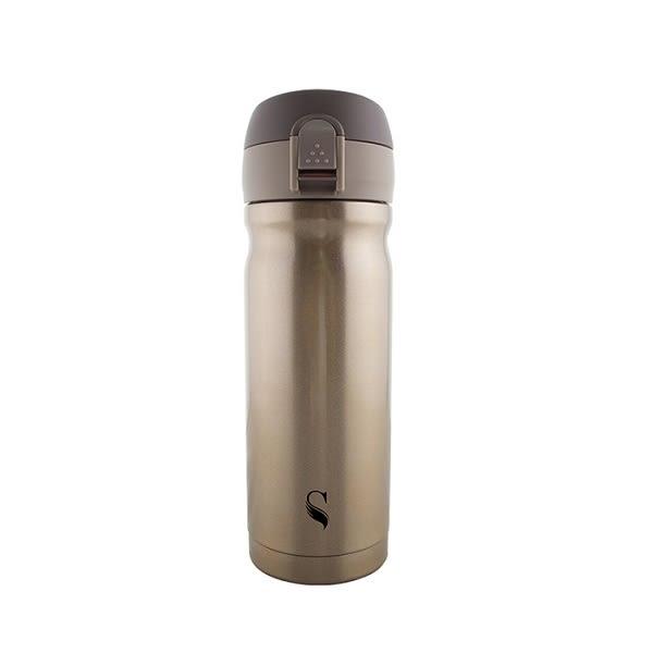 【等一個人咖啡】真空雙層內陶瓷保溫杯-彈蓋金300ml