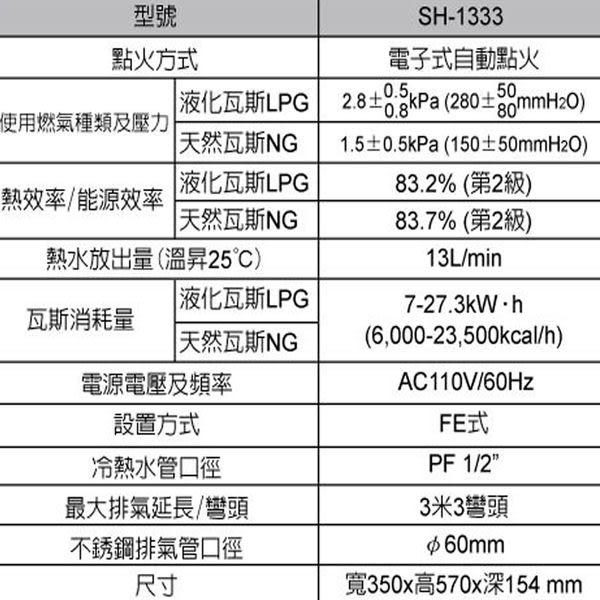 櫻花熱水器 水電DIY 強制排氣數位恆溫熱水器  SH-1333 13L熱水器 (天然 / 桶裝) 六期0利率