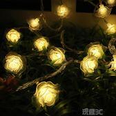 燈串 婚禮彩燈婚慶創意玫瑰花串燈閃燈房間佈置北歐風裝飾燈臥室小燈串 玩趣3C