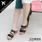 韓國空運 簡約亮粉造型 霧感Z字繞帶 優雅厚底涼拖鞋【F713271】版型正常/SD韓美鞋