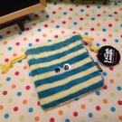【發現。好貨】日本Cram Cream Laugh Laugh 可愛條紋毛絨束口袋 收納袋 相機包 化妝包 雜物包