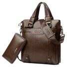 送防盜手包  雙層設計男包A4紙商務手提包休閒單肩斜挎包背包ipad包 降價兩天