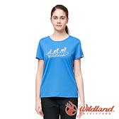 【wildland 荒野】女 椰炭紗抗菌抗UV圓領衣『牛仔藍』0A91627 戶外 運動 露營 登山 吸濕 排汗 快乾