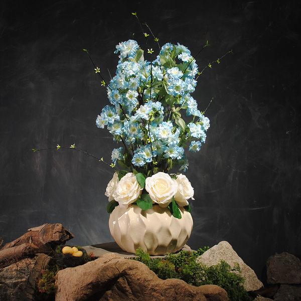 幸福浪漫樱花和玫瑰高檔模擬花成品 客廳餐桌擺放絹花套裝 假花花藝裝飾品盆花 -3773700128