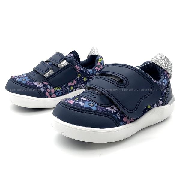 《7+1童鞋》日本 IFME 日系甜美 復古碎花 寶寶機能 學步鞋 D456 藍色