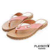 PLAYBOY 花漾假期 沁甜單鑽兔頭夾腳涼拖鞋-粉