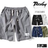 『潮段班』【HJ00K820】M-5L素色素面抽繩鬆緊腰棉麻夏季薄款休閒短褲 五分褲 膝上褲