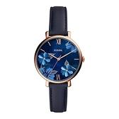 【Fossil】JACQUELINE花漾魅力真皮時尚腕錶-深海藍/ES4673/台灣總代理公司貨享兩年保固