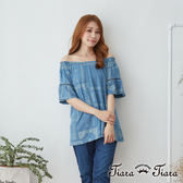 【Tiara Tiara】百貨同步 民俗風滿版平口鏤空袖上衣(藍)