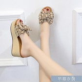 厚底涼鞋小香風夏商場新款格子女拖鞋坡跟鬆糕跟網紅34碼高跟懶人度假 快速出貨