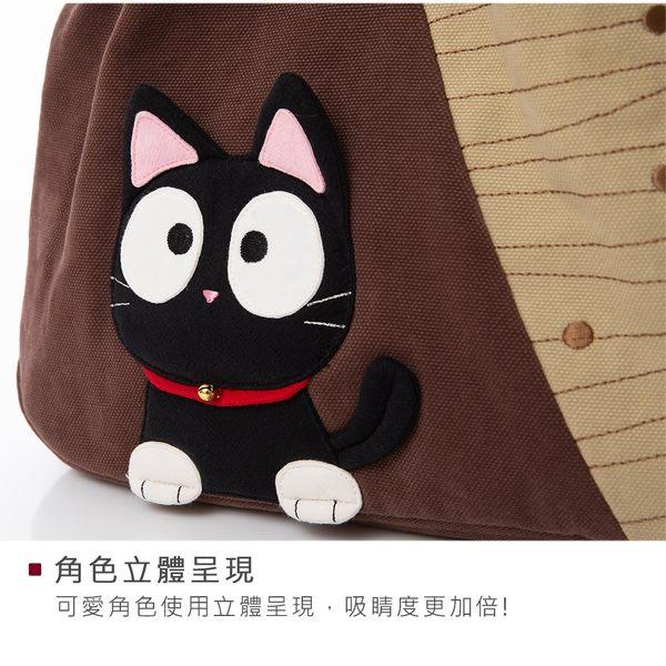 Kiro貓‧小黑貓三層肩背包/手提/側背包/可收納7.9吋平板【810012】