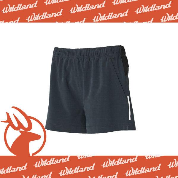 【Wildland 荒野 女 四彈透氣抗UV休閒短褲《深灰藍》】W1505-49/彈性/抗UV/路跑/機能褲/運動褲★滿額送