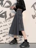 半身長裙不規則半身裙女夏季INS原宿風復古高腰A字裙長裙個性飄帶工裝裙子 童趣屋