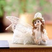 歐式樹脂家居裝飾品精致人物兒童房小女孩布藝趴桌兒童禮物8604