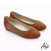A.S.O 玩美彈麗II 全真皮金屬飾片內增高平底鞋 茶色